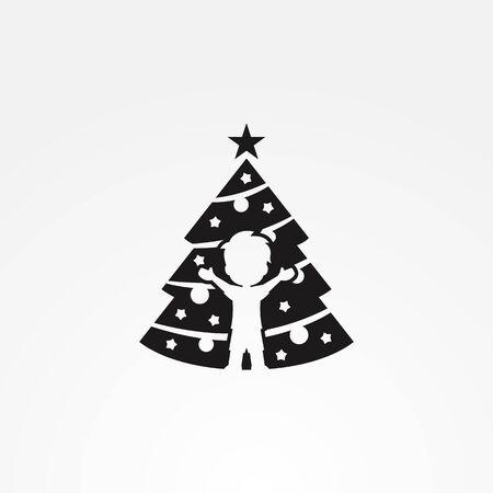 Boy with Christmas tree logo Иллюстрация