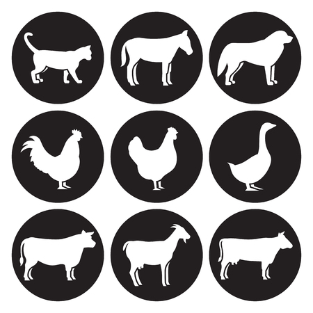 Farm animals silhouettes icons set. White on a black background Ilustrace