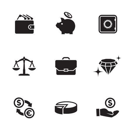 Money, finance, payments icons set Ilustrace