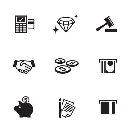 Money, finance, payments icons set Illustration
