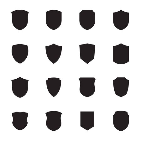 Shield icons set. Black on a white background Illustration