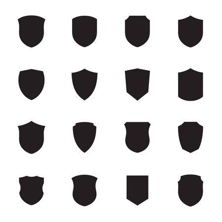 Shield icons set. Black on a white background 矢量图像