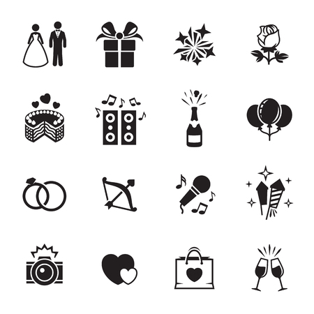 Wedding, marriage icons set. Black on a white background