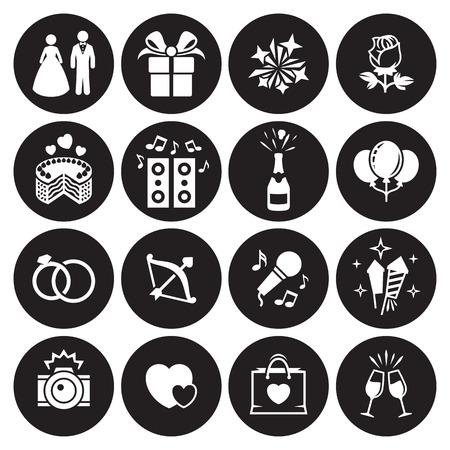 Wedding, marriage icons set. White on a black background Standard-Bild