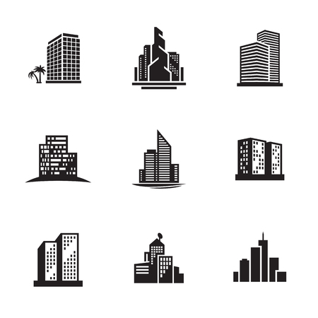 Buildings icons set. Black on a white background