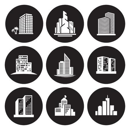 Buildings icons set Illustration