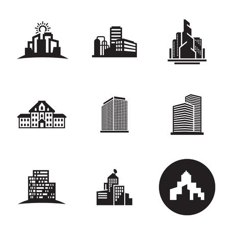 Buildings icons set Ilustracja