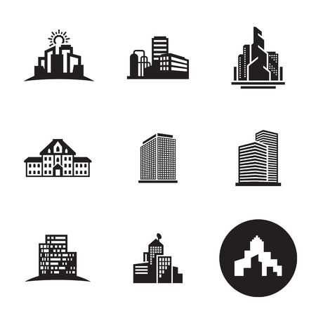 Buildings icons set Illustration
