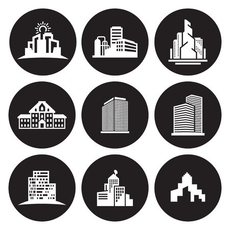 Buildings icons set. White on a black background
