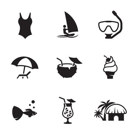 Summer Icons Set design recreation at sea or beach