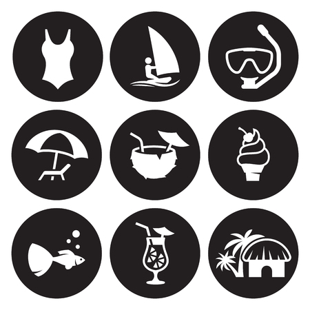 Summer Icons Set. White on a black background