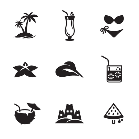 Summer Icons Set. Black on a white background