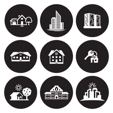 Building architecture object icons set in black background