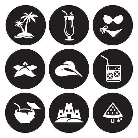 Summer Icons object icons set in black background Set 矢量图像