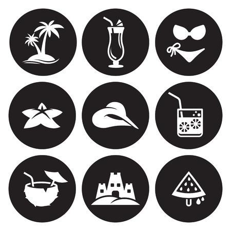 Summer Icons object icons set in black background Set Ilustracja