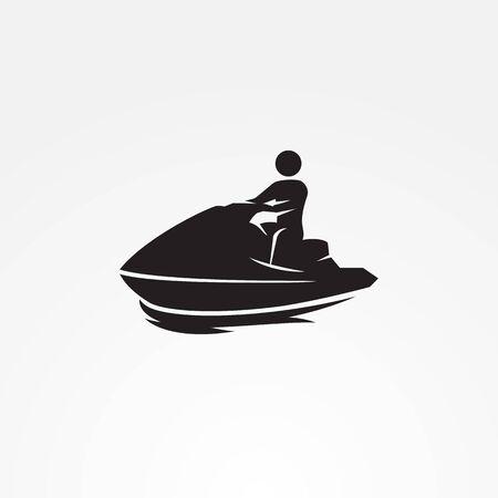 Jetski icon black 矢量图像