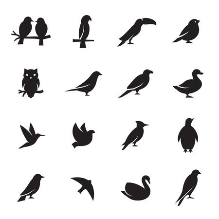 Birds icon set. Black on a white background