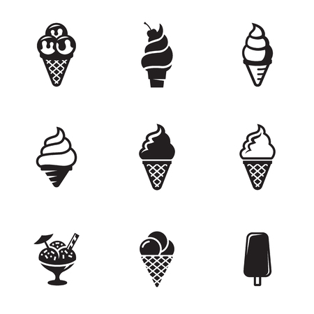 Ice cream icons. Black on a white background