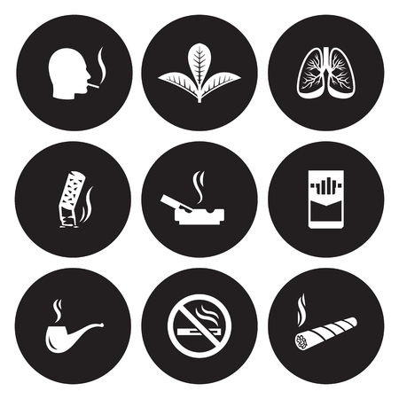 Smoking, cigarette icons set