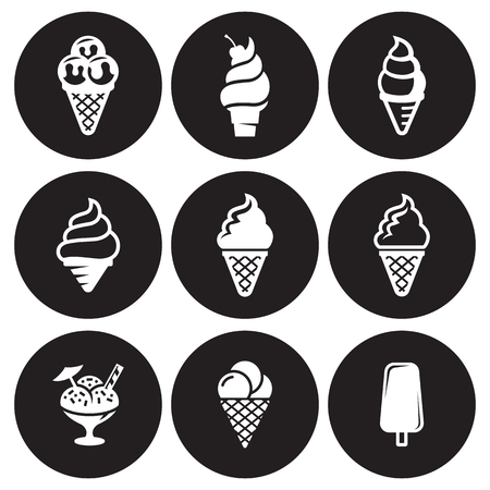 Ice cream icons Vector illustration. Vettoriali