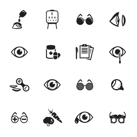 Optometry Icons Set on a black and white vector illustration