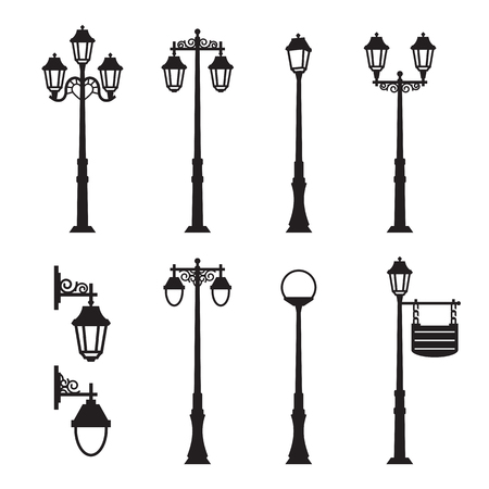 City street silhouette set 矢量图像