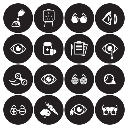 Eye Health, Optometry Icons Set, White on a black background
