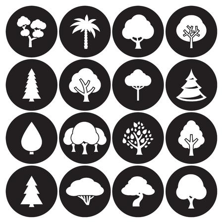 Tree icon set white on a black background. 矢量图像