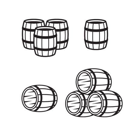 Wooden barrel line icons set black on a white background. Illustration