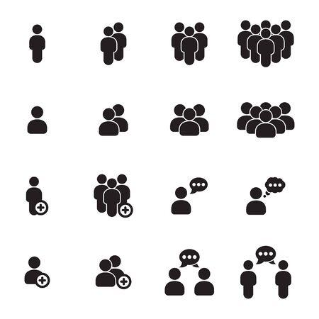People icons set. Black on a white background illustration.