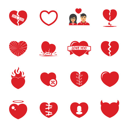 Love hearts icons set. Broken hearts. Red color collection.