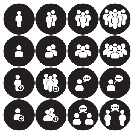 People icons set. White on a black background