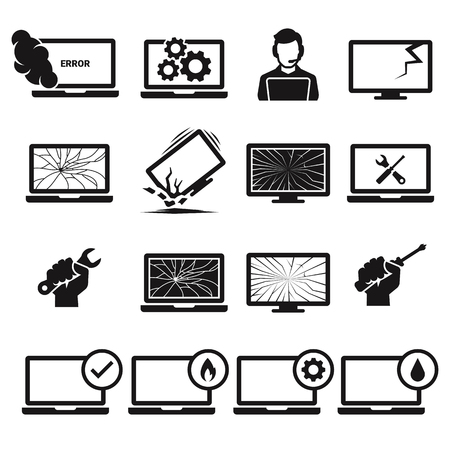 Computer repairs icons. Broken, damaged laptop. Black on a white background
