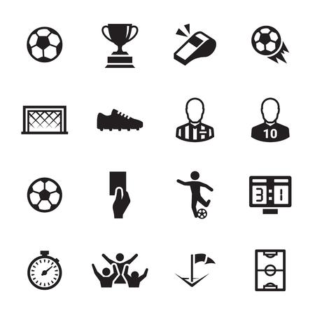 Soccer icons set black on a white background.