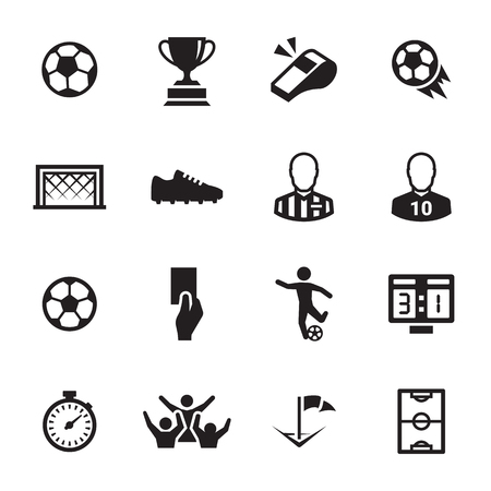Soccer icons set black on a white background.
