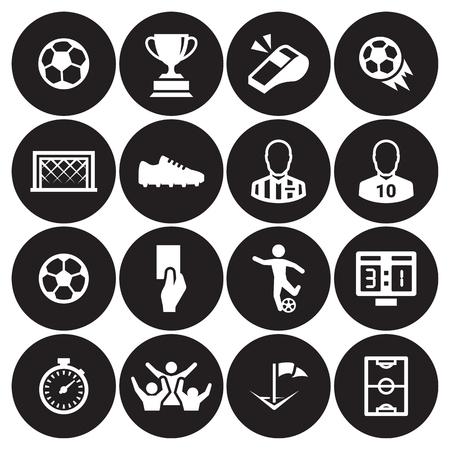 Soccer icons set white on a black background. Illustration