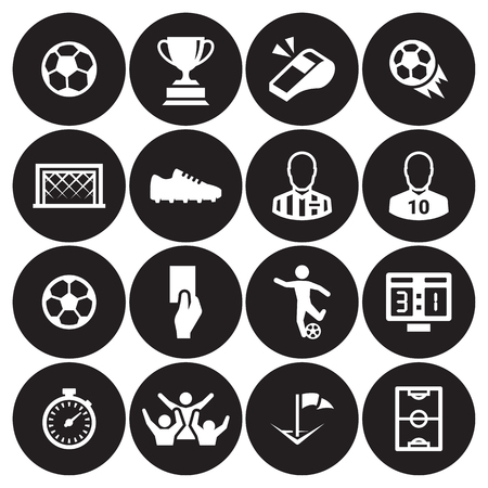 Soccer icons set white on a black background. Ilustrace