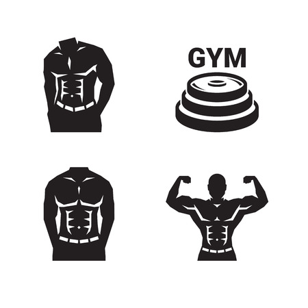 Bodybuilding gym logo Illustration