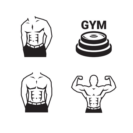 Bodybuilding logo of physically fit men.