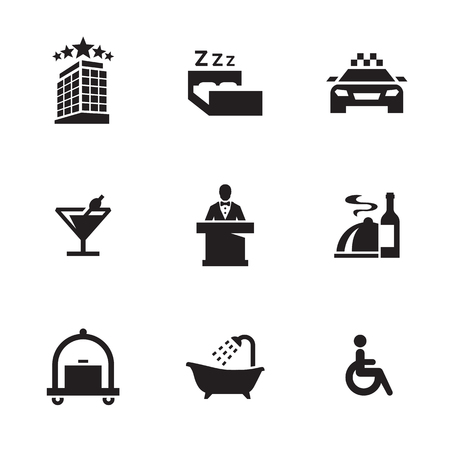 Hotel icons set in white background