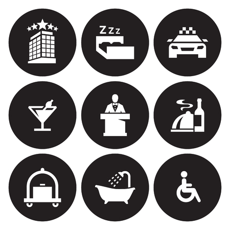Hotel icons set in black circle