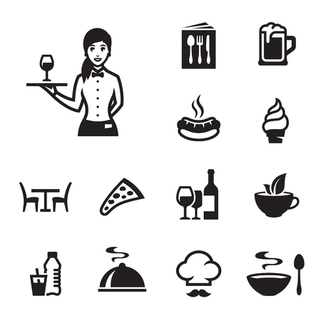 Restaurant food icons set with a waiter Ilustrace