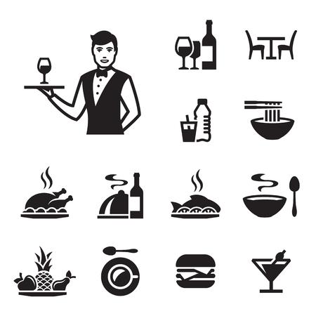 Restaurant icons set with a waiter. Black on a white background Illustration