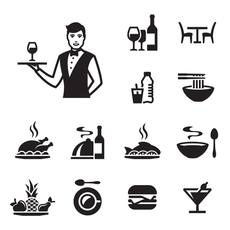 Restaurant icons set with a waiter. Black on a white background Illustration