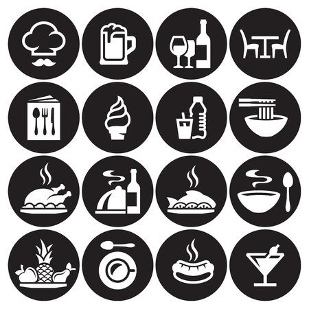 Restaurant food icons set. White on a black background Illustration