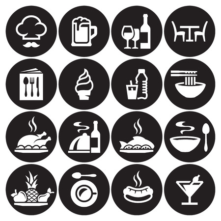 Restaurant food icons set. White on a black background Stock Illustratie