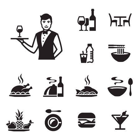Restaurant icons set with a waiter. Black on a white background Standard-Bild