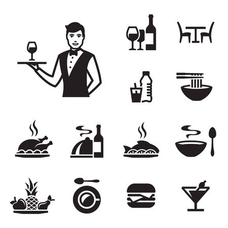 Restaurant icons set with a waiter. Black on a white background Stock Photo