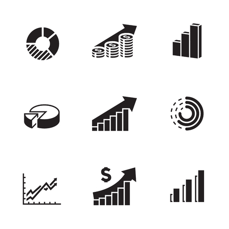 Business Infographic icons. Black on a white background Illustration