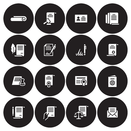 Documents Icons Set. White on a black background Stock Illustratie